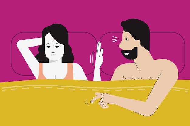 Woman make hand sign for no sex tonight as she feel boredom Premium Vector