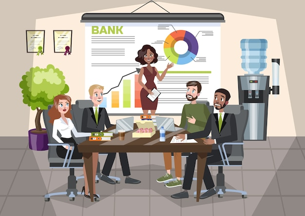 Woman making business presentation in front of group of people Premium Vector