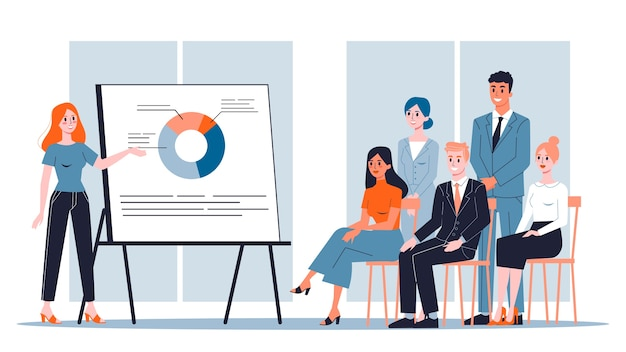 Woman making business presentation in front of group Premium Vector
