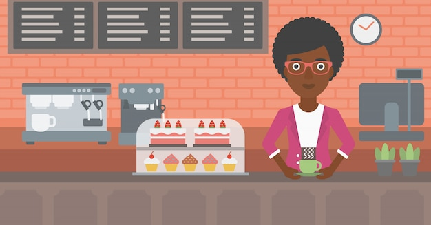 Woman making coffee. Premium Vector