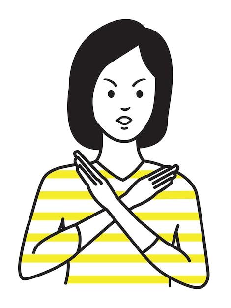 Woman making no hand sign or x symbol Premium Vector