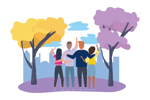 Woman and man avatars in the park Premium Vector