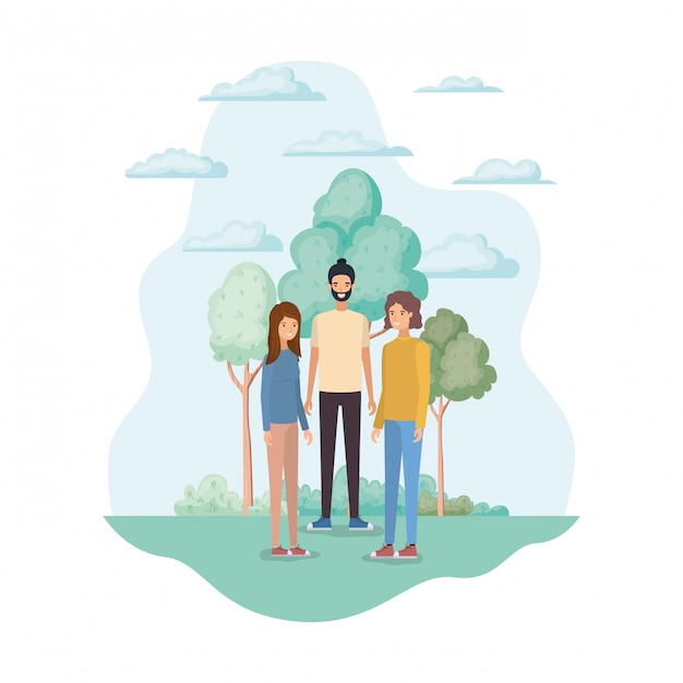Woman and man avatars in the park Free Vector