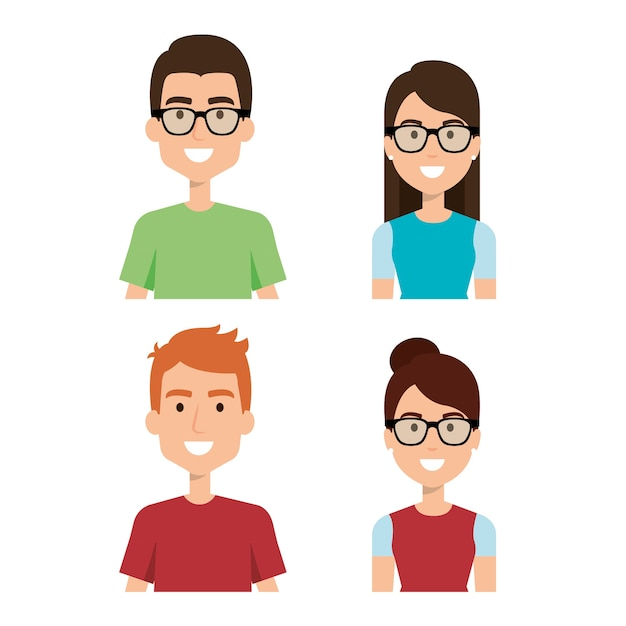 Woman and man characters Premium Vector