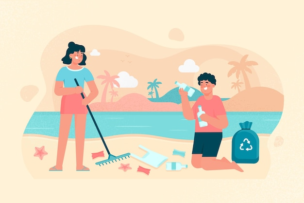 Woman and man cleaning beach illustration Free Vector
