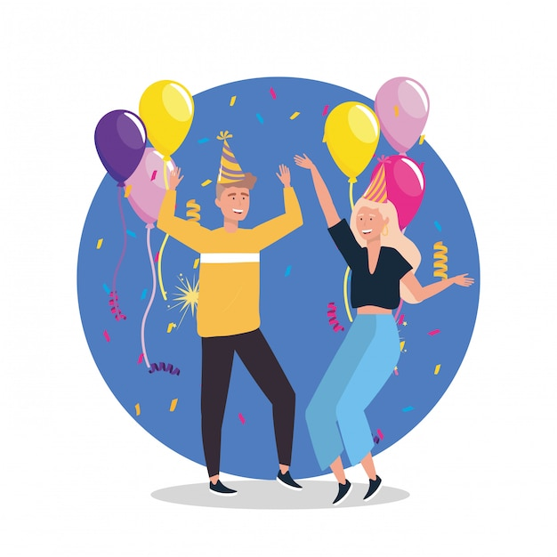 Woman and man dancing with confetti and hat Free Vector