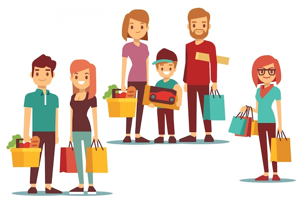 Woman and man going shopping Premium Vector