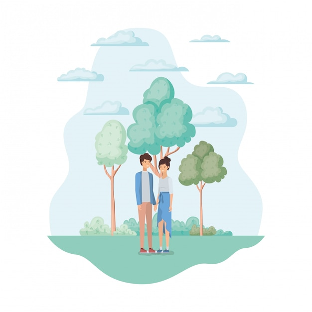 Woman and man in the park Free Vector