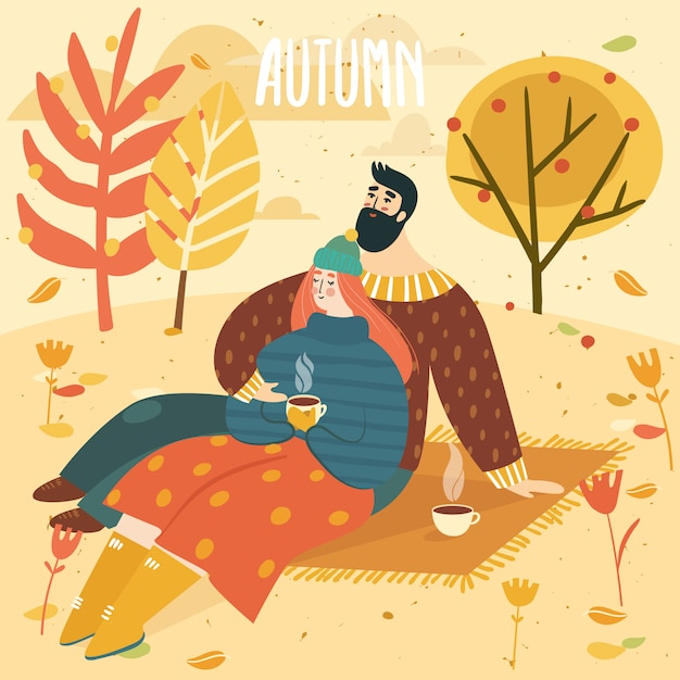 Woman and man on a picnic in fall and lettering autumn. happy cute couple on autumn background with leaves and trees. illustration is for your card, poster, flyer. Premium Vector