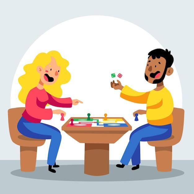 Donna e uomo che giocano a ludo Vettore gratuito