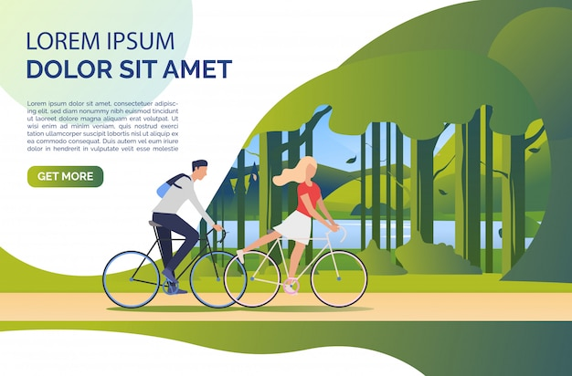 Woman and man riding bicycles, green landscape and sample text Free Vector