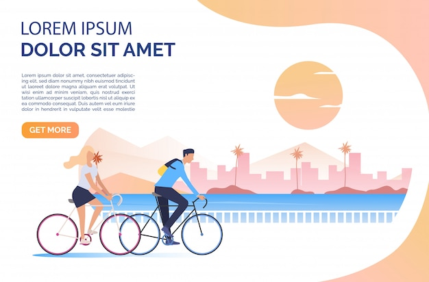 Woman and man riding bicycles, sun, cityscape and sample text Free Vector