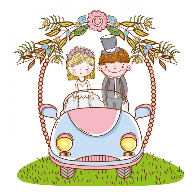 Woman and man wedding in the car with flowers plants Premium Vector