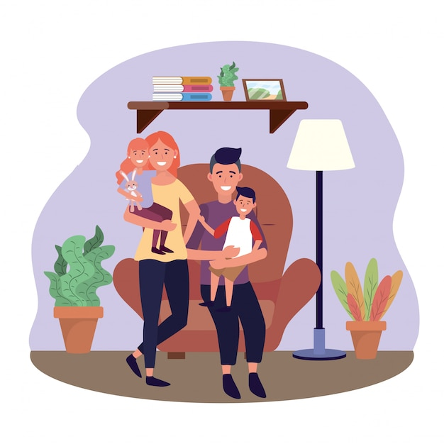 Woman and man with their daughter and son in the chair Free Vector