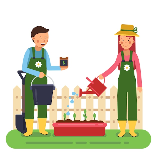 Woman and man working in garden. different tools for farming and gardening. Premium Vector