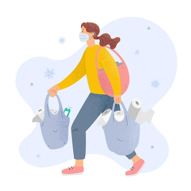 Woman in mask with bags full toilet paper and sanitizers, concept of panic shopping Premium Vector