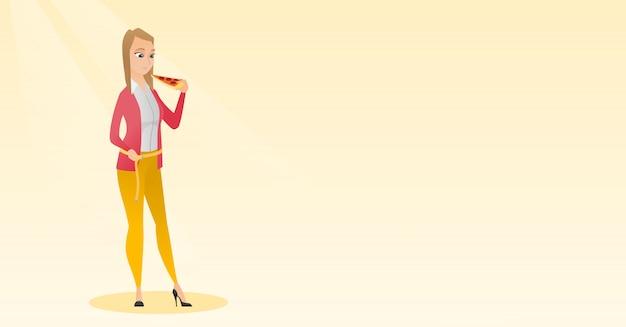 Woman measuring waist Premium Vector