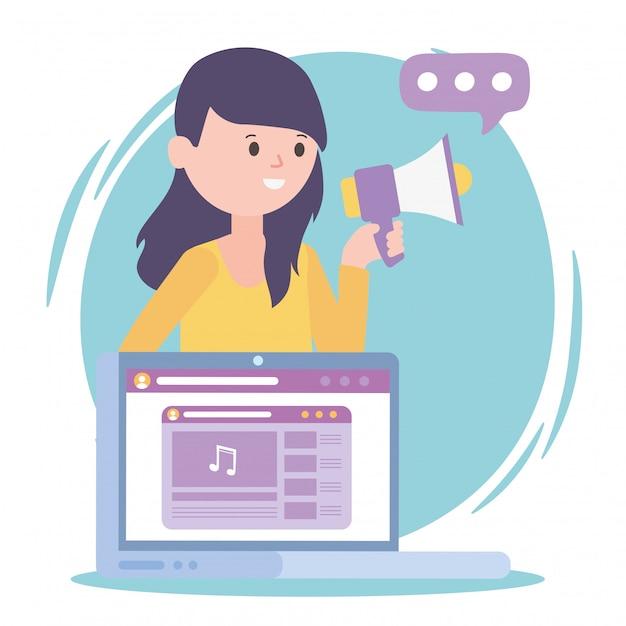 女性メディアマーケティングラップトップスピーカーソーシャルネットワークコミュニケーションとテクノロジー Premiumベクター