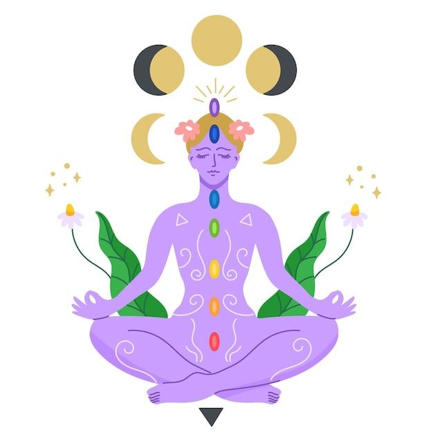 Концепция медитации чакр женщина Бесплатные векторы