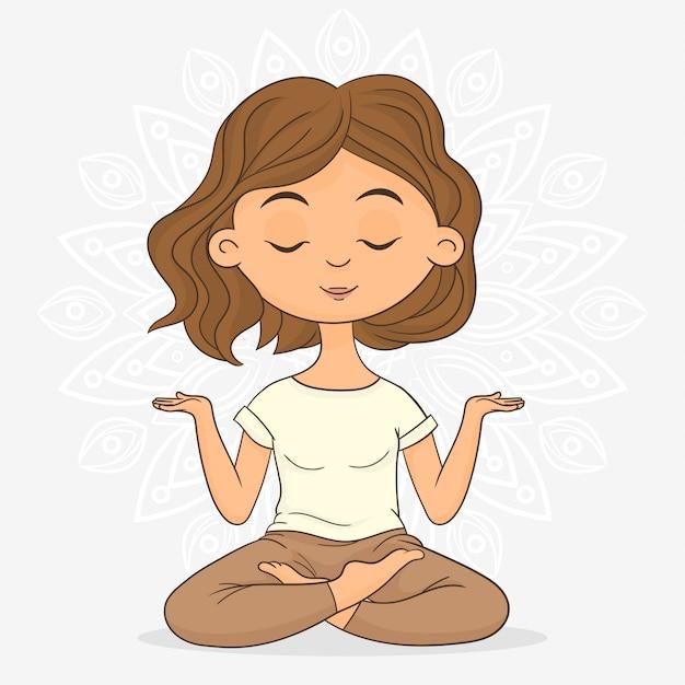 Woman meditating in lotus pose Premium Vector