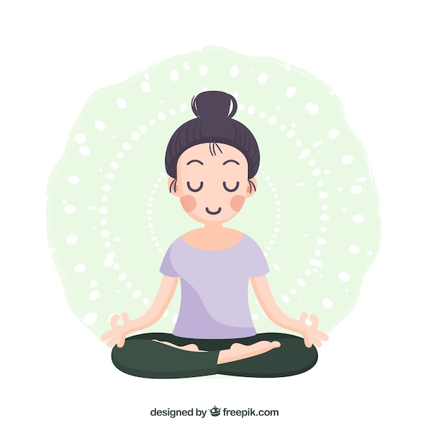 Woman meditating with flat design Free Vector