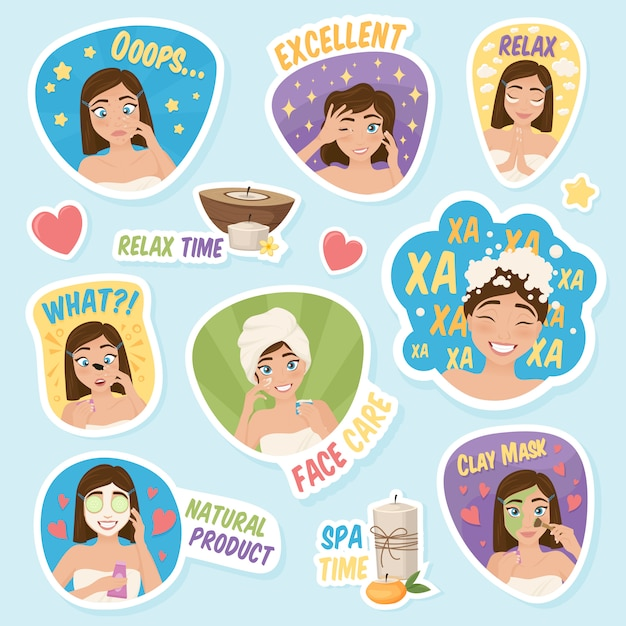 Woman morning stickers set Free Vector