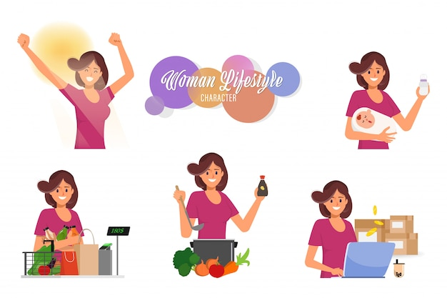 Woman in mother lifestyle daily routine housewife character set. Premium Vector
