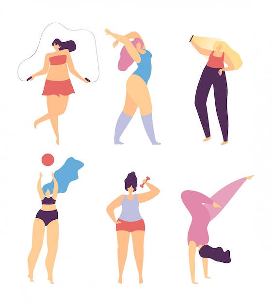 Woman motivate love sport make body character Premium Vector
