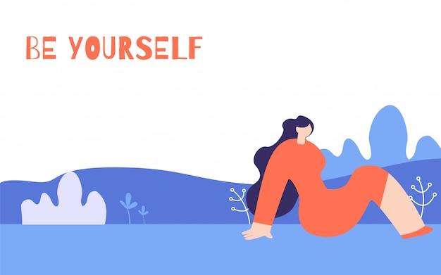 Poster orizzontale di motivazione della donna in stile floreale Vettore gratuito