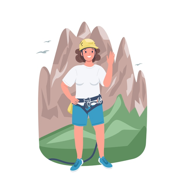 Woman mountaineer flat color detailed character. climbing and trekking. strong lady. cheerful female climber isolated cartoon illustration for web graphic design and animation Premium Vector