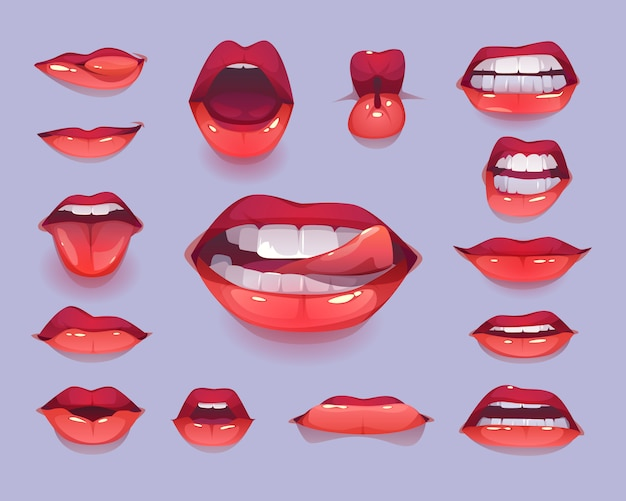 Woman mouth icon set. red sexy lips expressing emotions Free Vector