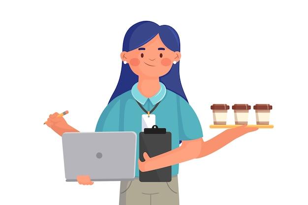 Woman multitasking internship job concept Free Vector