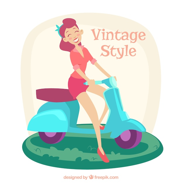 Woman on a motorcycle in vintage style