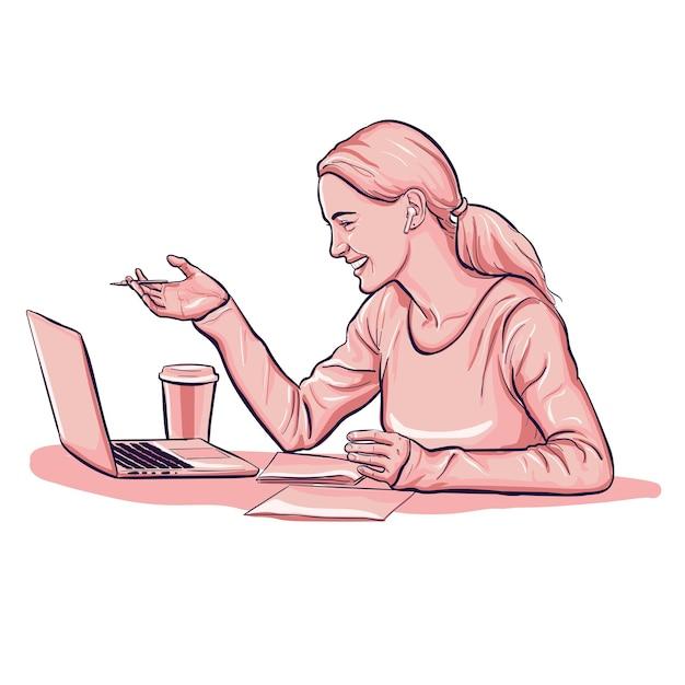 ヘッドフォンとコーヒーカップで会議ビデオ通話中の女性 無料ベクター
