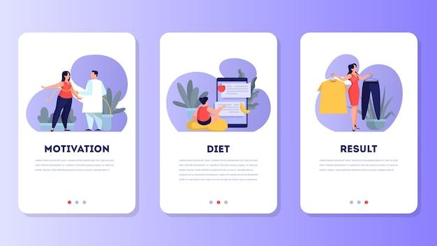 Женщина на диете. идея здорового питания и еды Premium векторы