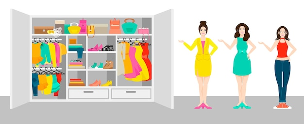 Woman outfit elements banner with girls standing near wardrobe with clothes and accessories Free Vector