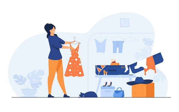 Woman packing bag for travel Free Vector