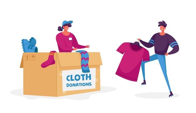 物を寄付する女性のパッキングボックス。慈善団体は問題のある人々を助けます Premiumベクター