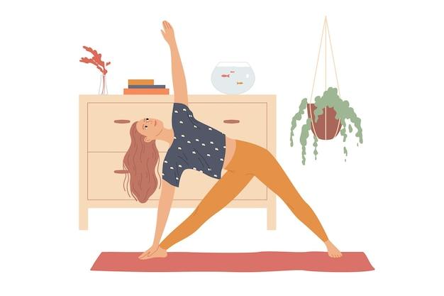여성은 옆으로 구부리고 손을 들어 삼각형 포즈, 세 모서리 또는 Trikonasana로 요가 운동을 수행합니다. 프리미엄 벡터