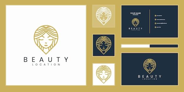 女性の場所のロゴデザインのインスピレーション。フェミニンなピンロゴデザインテンプレート。女性ファインダーのロゴと名刺のデザイン Premiumベクター