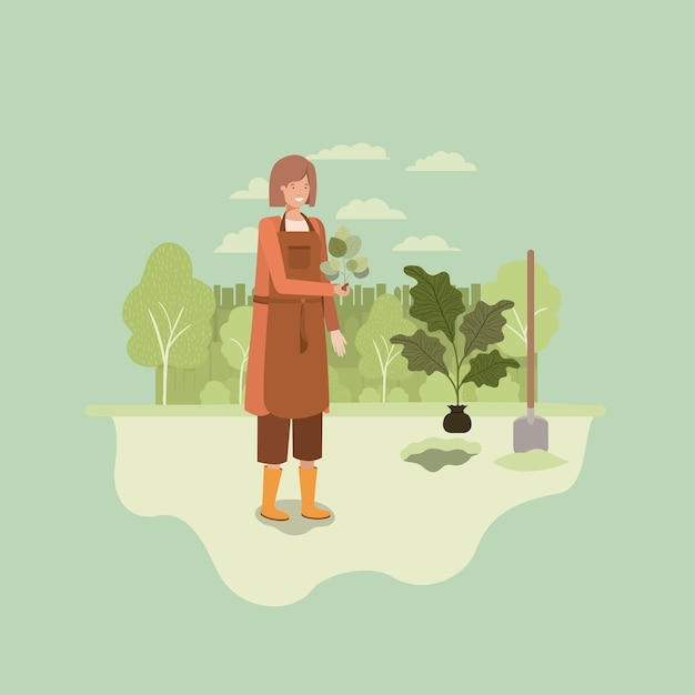 Woman planting tree in the park with shovel Premium Vector
