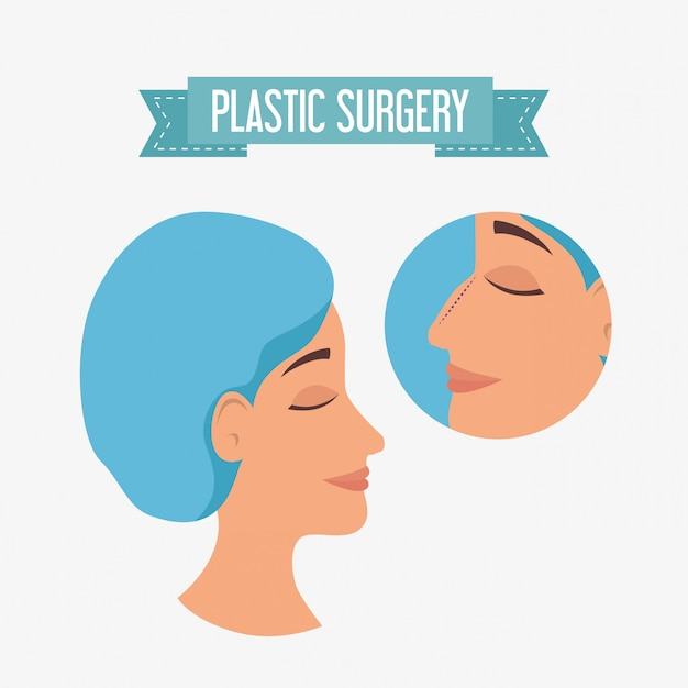 Woman in plastic surgery process Free Vector