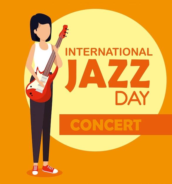 La donna gioca la chitarra elettrica al giorno di jazz Vettore gratuito