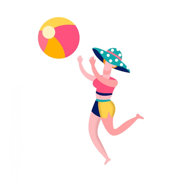 Woman playing beach volleyball flat illustration Premium Vector