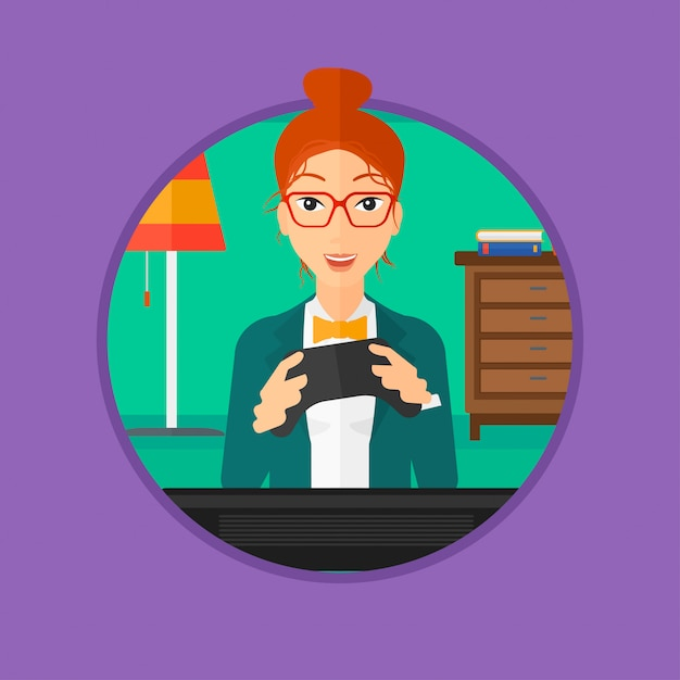 Woman playing video game. Premium Vector