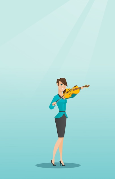 Woman playing the violin Premium Vector