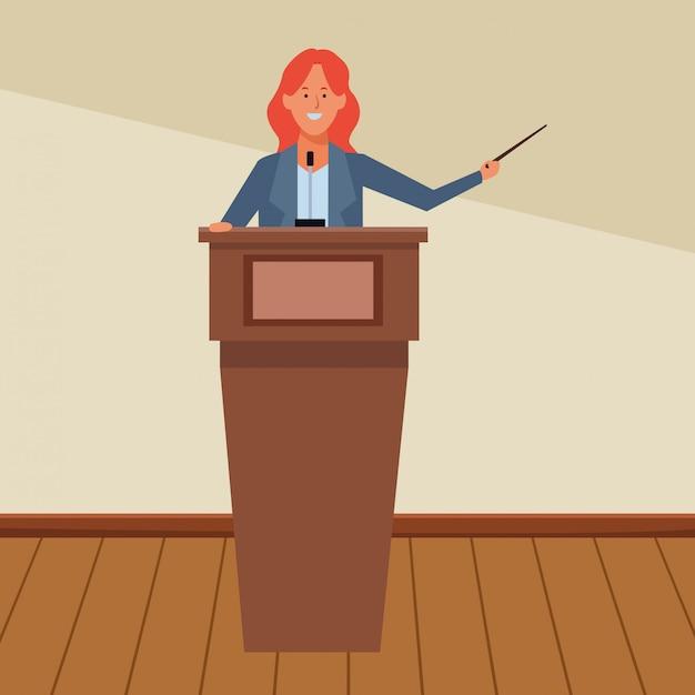 Woman in a podium Premium Vector
