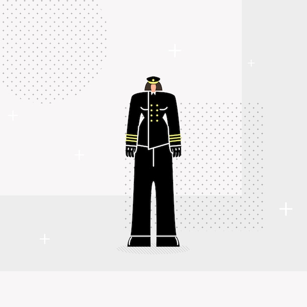 Woman police officer flat Premium Vector