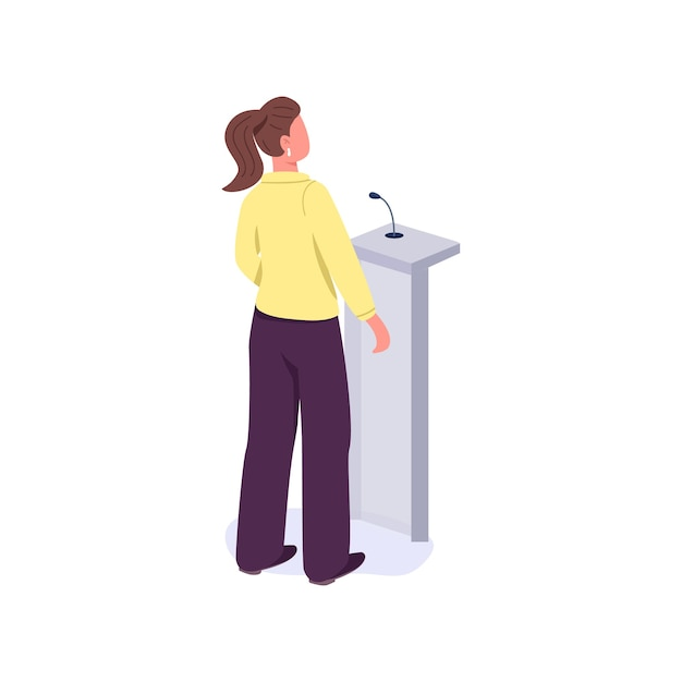 Woman politician speaking from platform flat color faceless character. female in leadership. business lady isolated cartoon illustration for web graphic design and animation Premium Vector