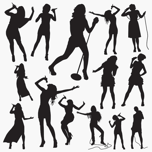 Premium Vector | Woman pop singer silhouettes